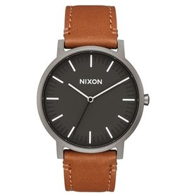 NIXON NIXON LEATHER GUNMETAL/CHARCOAL WATCH