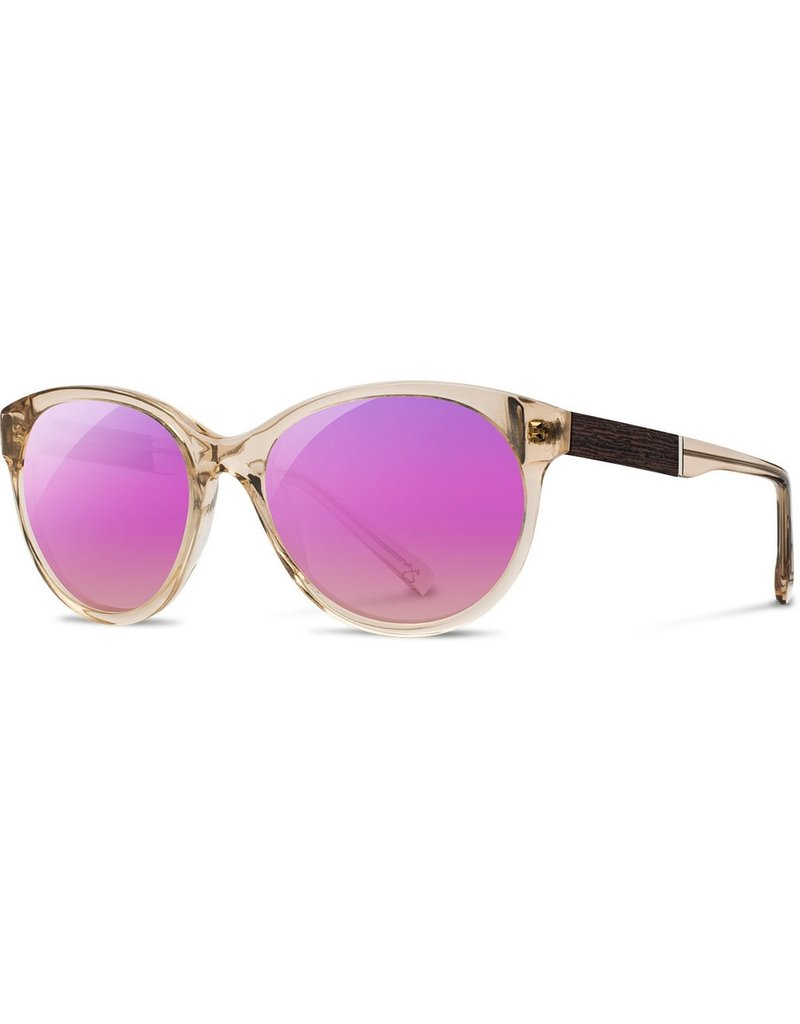 SHWOOD SHWOOD MADISON CHAMPAGNE/EBONY, ROSE FLASH POLARIZED