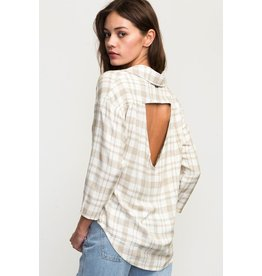 RVCA DRIFT AWAY PLAID BUTTON-UP TOP