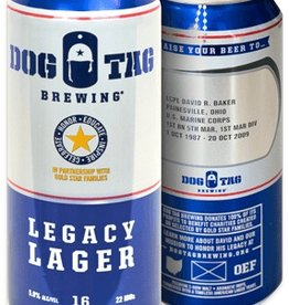 Dog Tag 'Legacy Lager' Can 16oz - Case (Box of 24)
