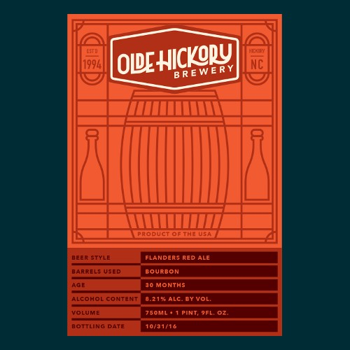 Olde Hickory Brewery 'Flanders Red' Sour Ale Aged in Bourbon Barrels 22oz