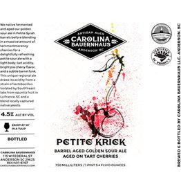 Carolina Bauernhaus 'Petite Kriek' Wine Barrel Aged Golden Sour Ale with Cherries 750ml