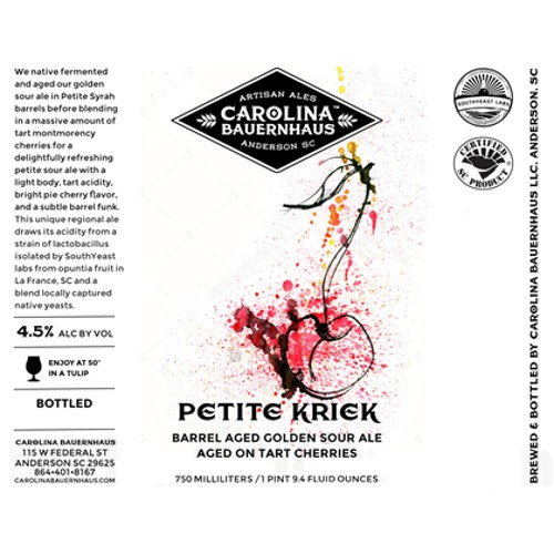 Carolina Bauernhaus 'Petite Kriek' Wine Barrel Aged Golden Sour Ale with Cherries 750ml
