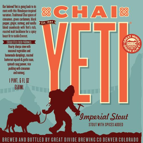 Great Divide 'Chai Yeti' Imperial Stout w/ Spices Added 22oz