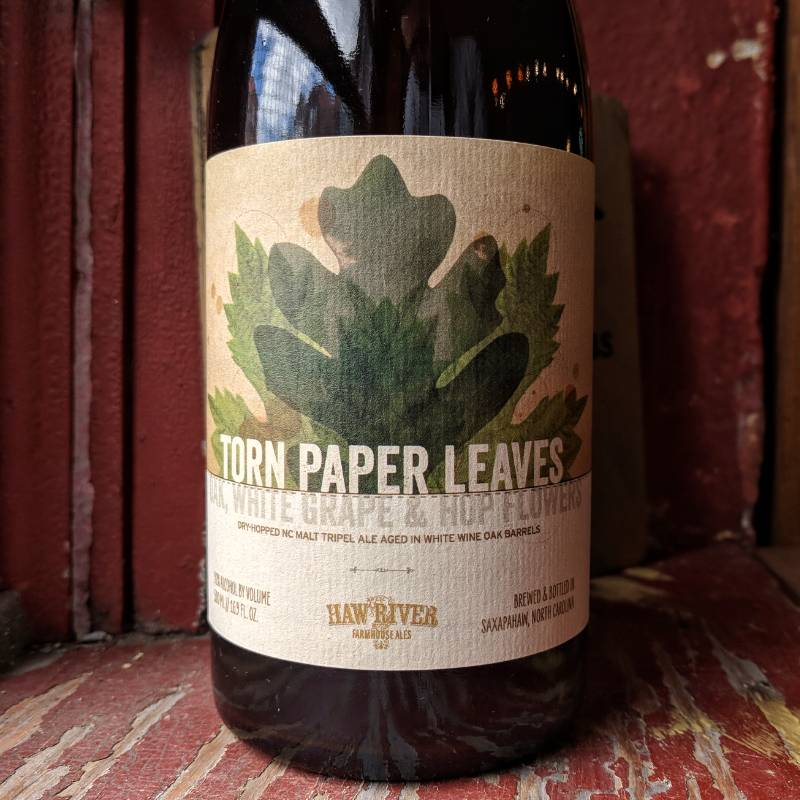 Haw River Farmhouse Ales 'Torn Paper Leaves Oak, White Grape, Hop Flower' Barrel-aged Tripel 500ml