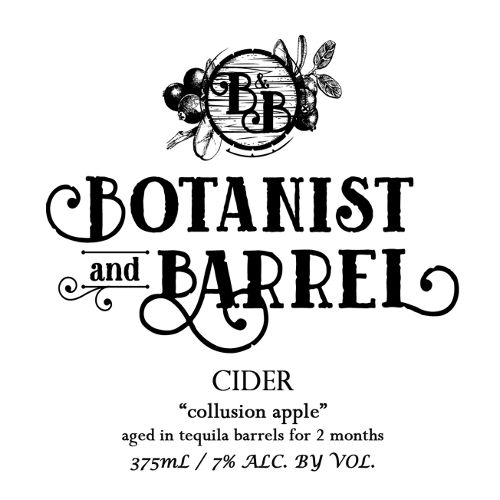 Botanist & Barrel 'Collusion Apple' Cider aged in Tequila Barrels 375ml