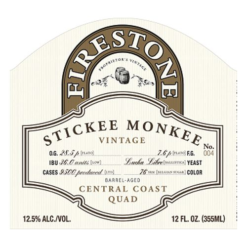 Firestone Walker 'Stickee Monkee 2018' Barrel-Aged Central Coast Quad 375ml