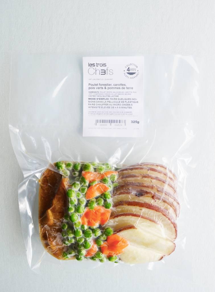 Poulet forestier, carottes, pois verts & pommes de terre (325 g)