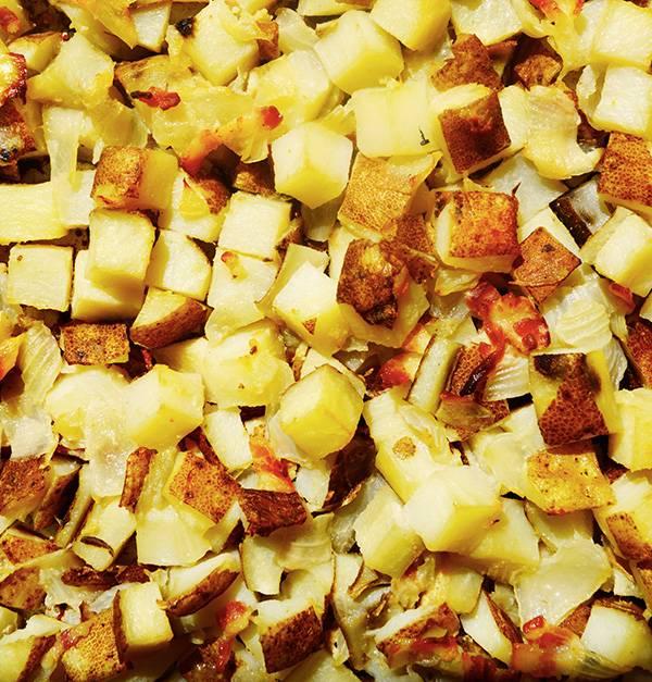 Patates à déjeuner, bacon & oignon