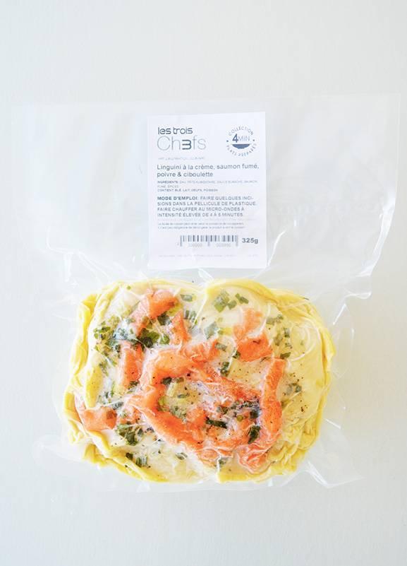 Linguini à la crème, saumon fumé, poivre & oignon vert