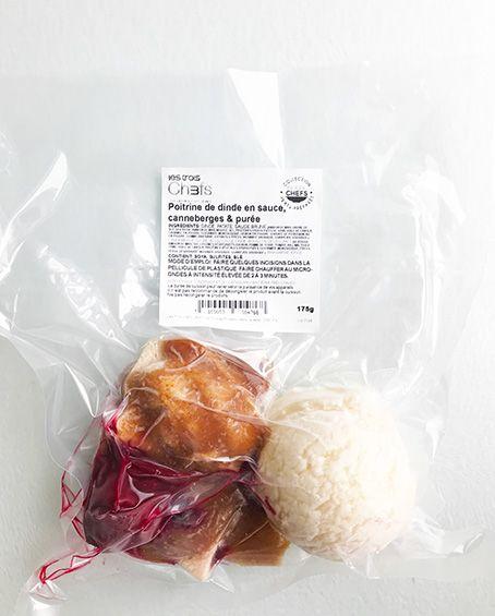 Poitrine de dinde en sauce, canneberges & purée (175g)
