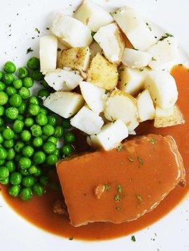 Pain de viande, patates en dés & pois verts (175 g)