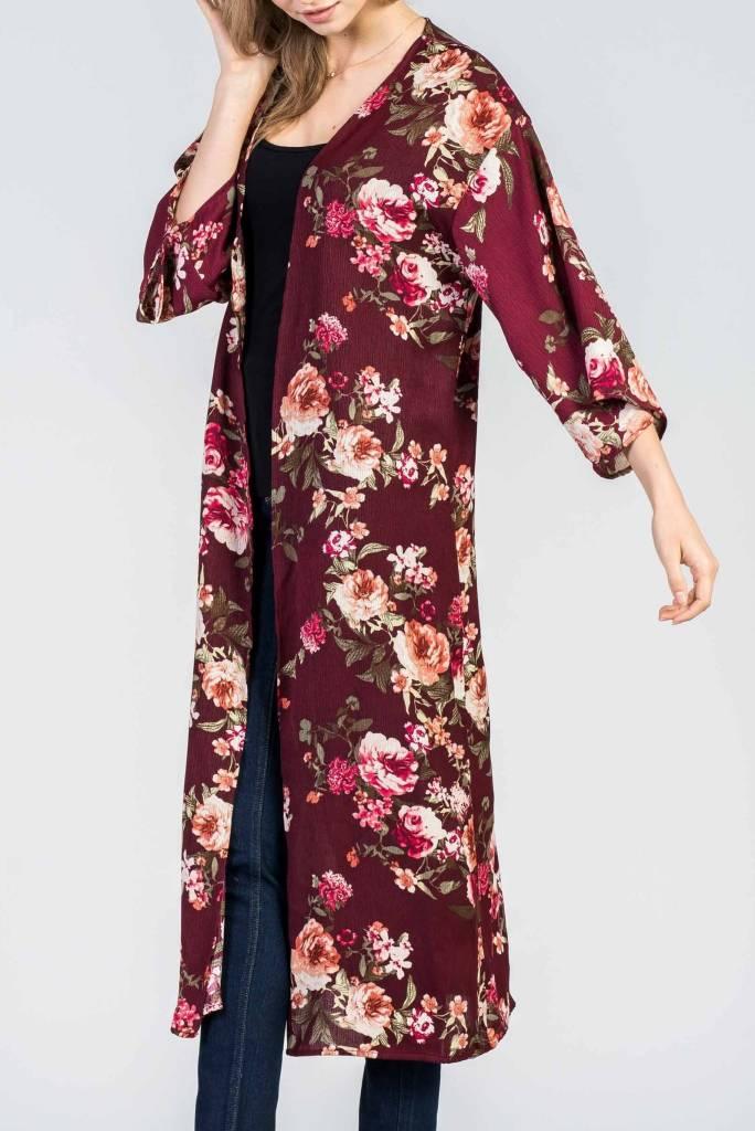 Burgundy Floral Duster