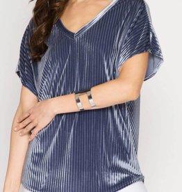 Stripe Velvet Top- 2 colors