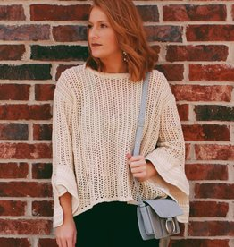 Knit Sweater with Striped Sleeve- 2 Colors