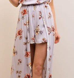 Lilac Grey Floral Maxi Romper