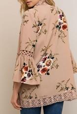 Taupe Floral Print Kimono