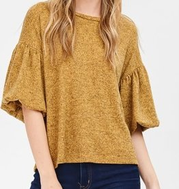 Puff Sleeve Knit Top- Mustard