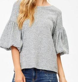 Puff Sleeve Knit Top- Heather Grey