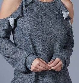 Cold Shoulder Ruffle Top-Charcoal