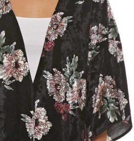 Black Velvet Floral Kimono