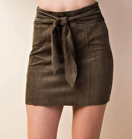 Love In Olive Suede Front Knot Skirt