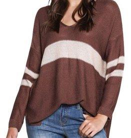 V Neck Varsity Striped Sweater-Brick/ Sand