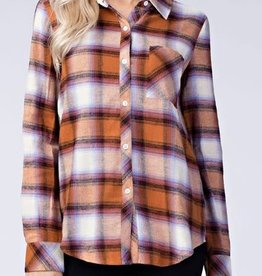 Olive-Lilac Plaid Button Up