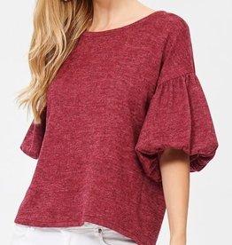Puff Sleeve Knit Top- Burgundy