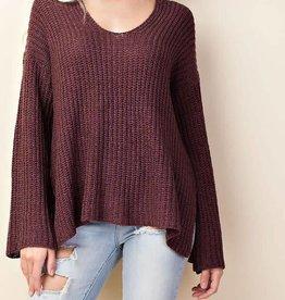 V Neck Flare Sleeve Sweater- Burgundy