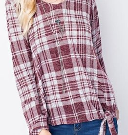 143 Story Plaid Tie Front Top- Burgundy