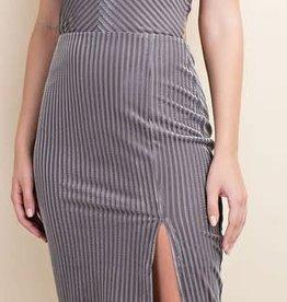 Velvet Stripe Halter Dress