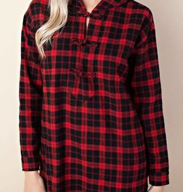 Red Flannel Hoodie Top
