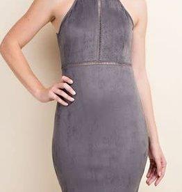 Grey Suede Bodycon Dress