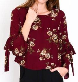 Lulumari Burgundy Floral Top