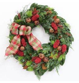 "Cypress Magnolia Wreath - 18"""