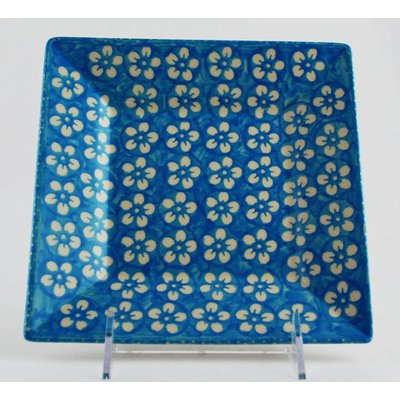 Turquoise Blossom Square Dessert Plate 18