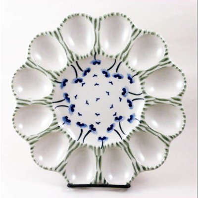 Blue Poppies Egg Plate