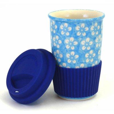 Turquoise Blossom Travel Mug