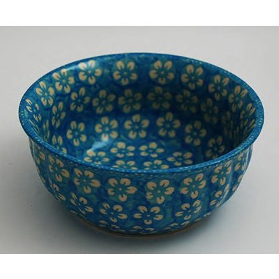 Turquoise Blossom F18 Fluted Chili Bowl