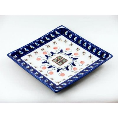 Blue Bird Square Dessert Plate 18