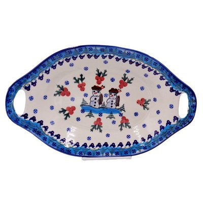 Frosty Oval Dish w/ Handle