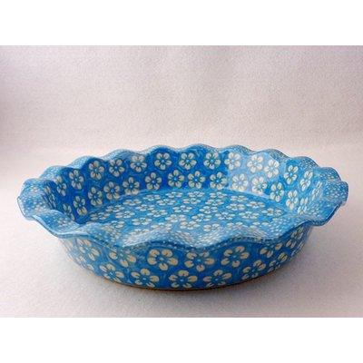 Turquoise Blossom Ruffled Baker 27