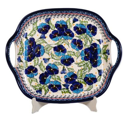 Pansy Dance Square Tray w/ Handles