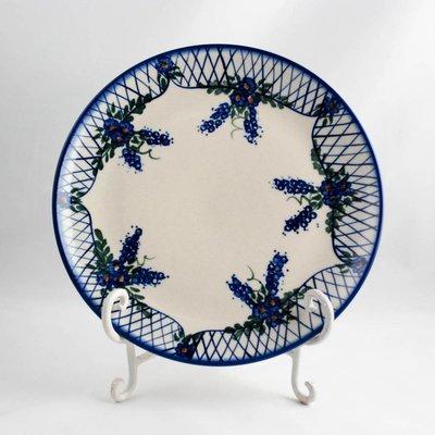 Lattice in Blue Dinner Plate 26