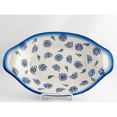 Painted Daisy Oval Dish w/ Handle