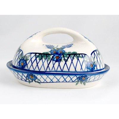 Lattice in Blue Butter Dish w/ Handle