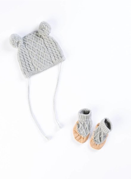 EGG Grey Cable Hat & Bootie Set