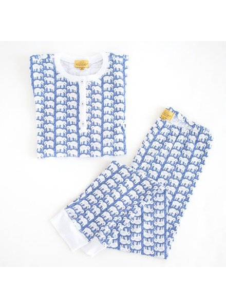 Roberta Roller Rabbit Pajama Set Blue Hathi