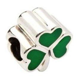 Green Enamel Silver Shamrock Bead